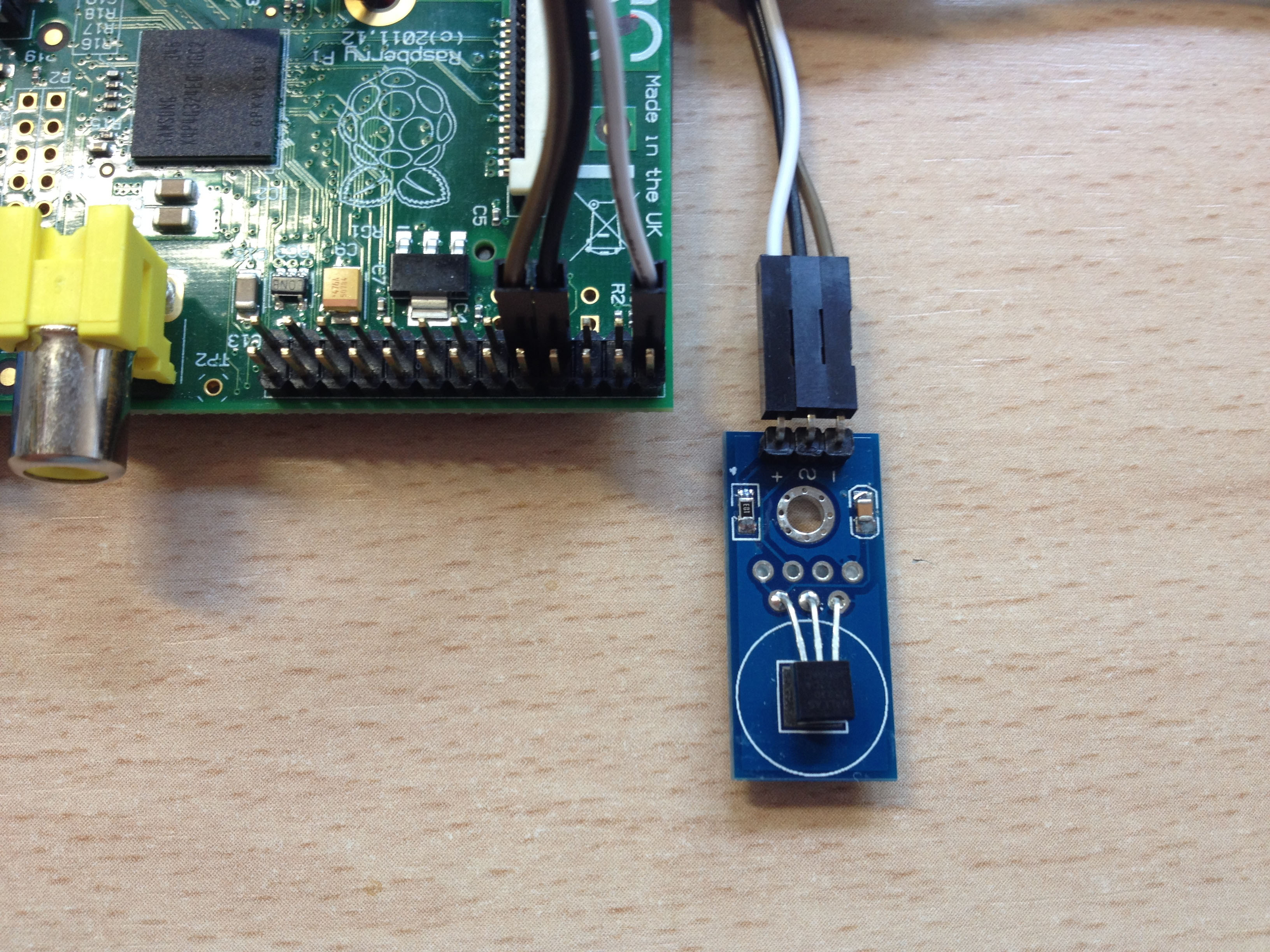 Módulo DS18B20 conectado a la Raspberry Pi B