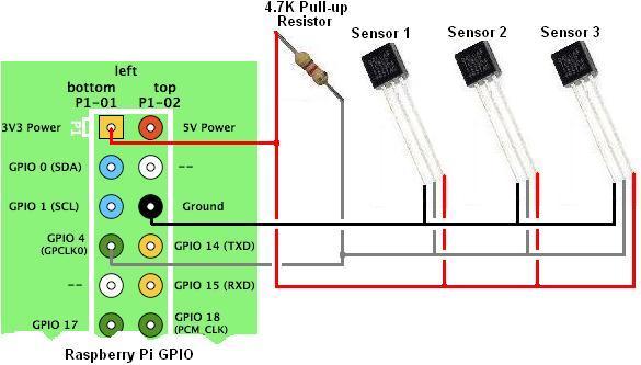 Esquema de conexión de varios DS18B20 a la Raspberry Pi (tomado de )
